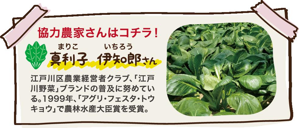 協力農家さんはコチラ! 真利子 伊知朗さん 江戸川区農業経営者クラブ、「江戸川野菜」ブランドの普及に努めている。1999年、「アグリ・フェスタ・トウキョウ」で農林水産大臣賞を受賞。